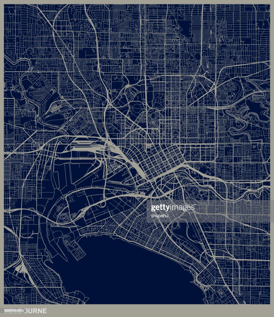 Melbourne city structure map : Stock Illustration