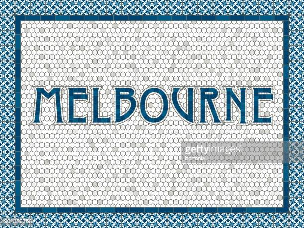 melbourne old fashioned mosaic tile typography - melbourne stock illustrations