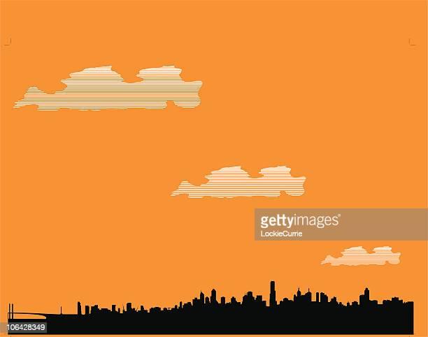 melbourne skyline - melbourne stock illustrations