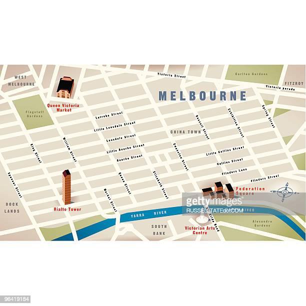 melbourne, vic, australia map - melbourne stock illustrations