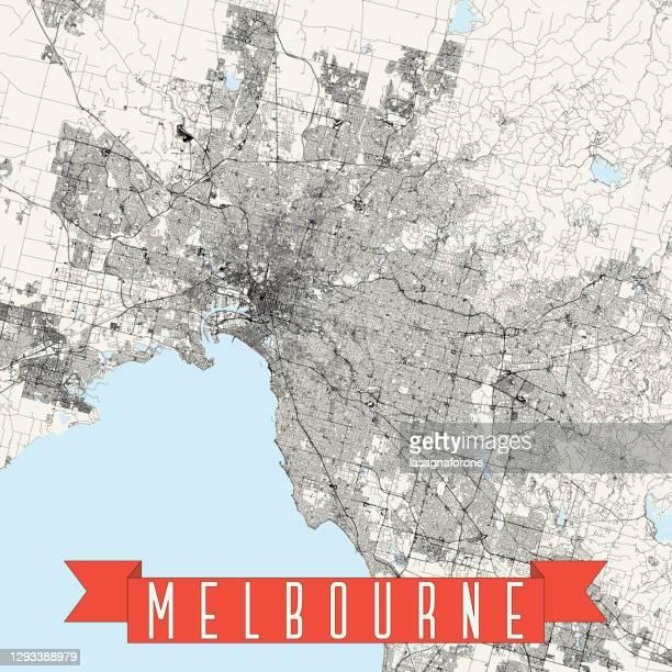 stockillustraties, clipart, cartoons en iconen met melbourne, victoria, australië vector kaart - australian capital territory