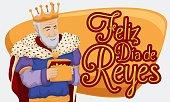 Melchior Magi with Gold Celebrating Epiphany or Dia de Reyes