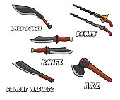 melee weapon model cartoon design