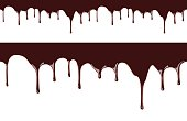 Melted chocolate syrup leaking on white background vector seamless illustration
