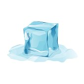 Melted ice cube with transparency