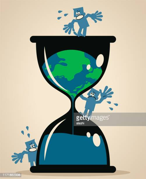 melting earth inside of a hourglass and people are worried and scared - molten stock illustrations, clip art, cartoons, & icons