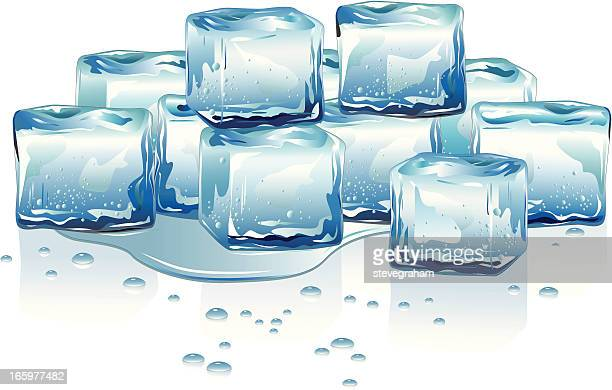 melting ice cubes - puddle stock illustrations, clip art, cartoons, & icons