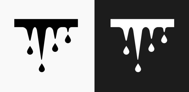 melting icicles icon on black and white vector backgrounds - melting stock illustrations