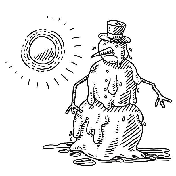 melting snowman heat of the sun drawing - melting stock illustrations