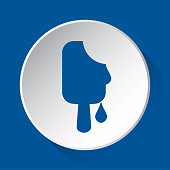 melting stick ice cream - simple blue icon
