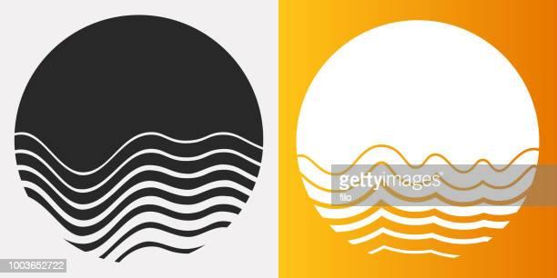 ilustraciones, imágenes clip art, dibujos animados e iconos de stock de símbolos de círculo de sol fusión - puesta de sol