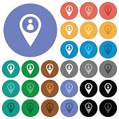 Member GPS map location round flat multi colored icons