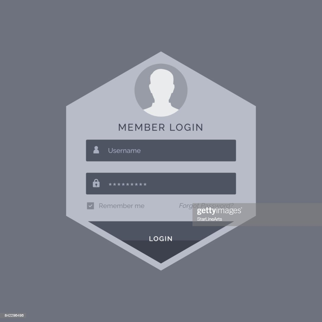 Member Login Form Ui Template Design In Hexagonal Shape Vector Art