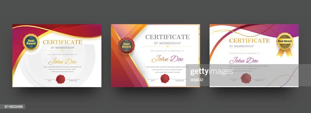 Membership certificate best award diploma set.