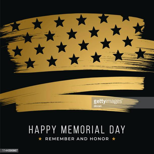memorial day banner with stars and stripes on black background. template for memorial day. - war memorial holiday stock illustrations