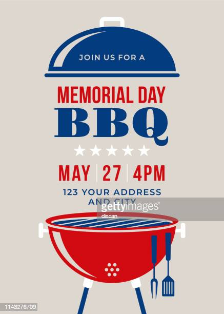 memorial day bbq party invitation - illustration - happy hour stock illustrations, clip art, cartoons, & icons