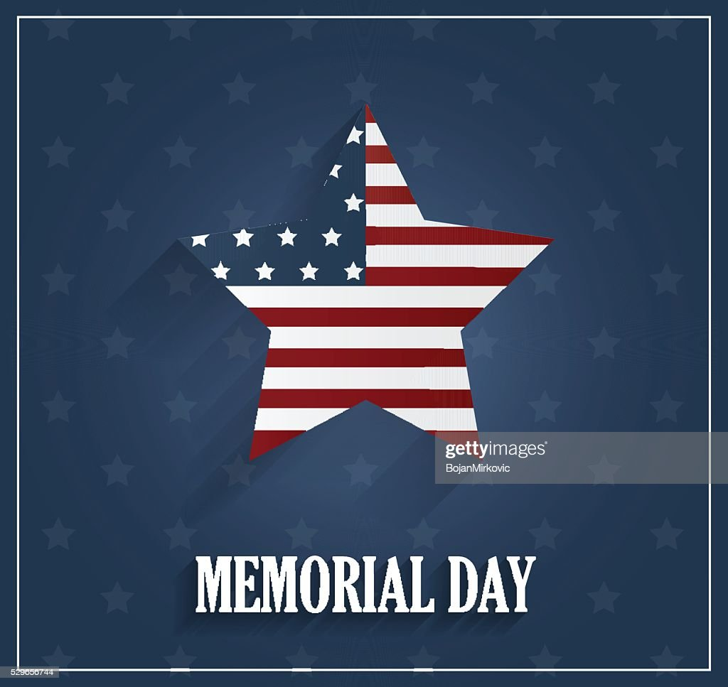 Memorial Day blue poster with star background