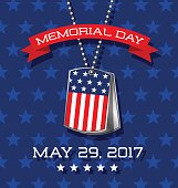 Memorial Day card or banner design. Soldier's dog tags with American flag.