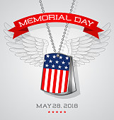 Memorial Day card or banner design with soldier's dog tags with flag