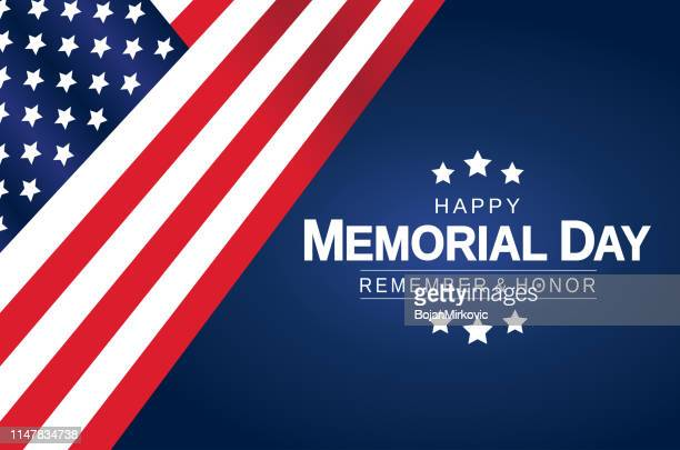 memorial day card, poster or background with usa american flag. remember and honor. vector illustration. - war memorial holiday stock illustrations