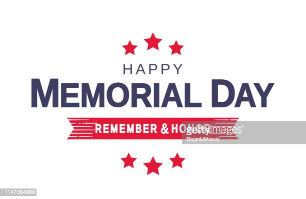 memorial day card, white background. remember and honor. vector illustration. - war memorial holiday stock illustrations