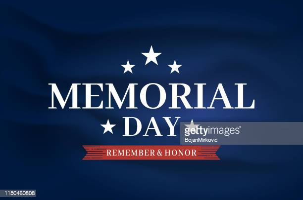 Memorial Day elegant poster, satin silk fabric background. Remember and honor. Vector illustration