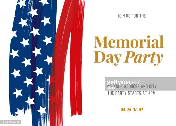 memorial day party invitation template. - usa stock illustrations