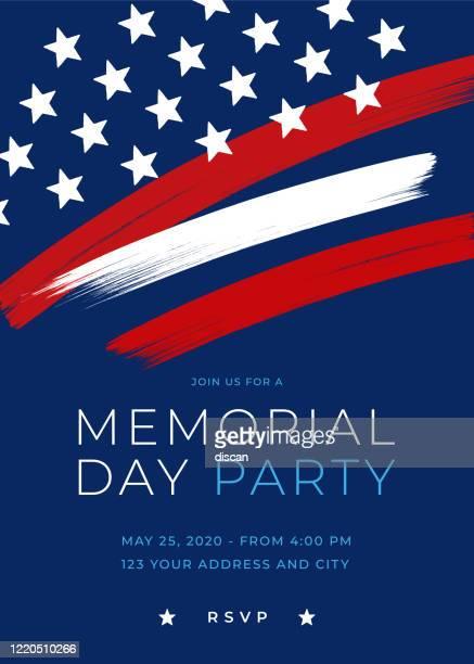 stockillustraties, clipart, cartoons en iconen met memorial day party invitation template met penseel. - vaderlandsliefde