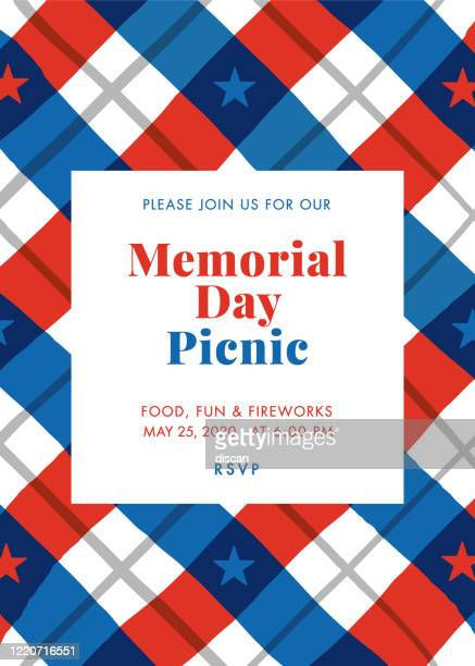 memorial day picnic party invitation - illustration. - independence stock illustrations