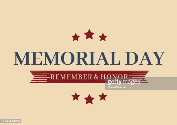 memorial day poster with stars and ribbon. vector illustration. - war memorial holiday stock illustrations