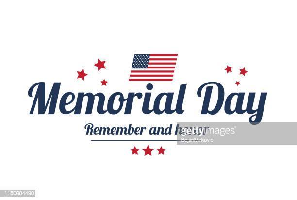 memorial day poster with stars, white background, american usa flag. remember and honor. vector illustration - war memorial holiday stock illustrations