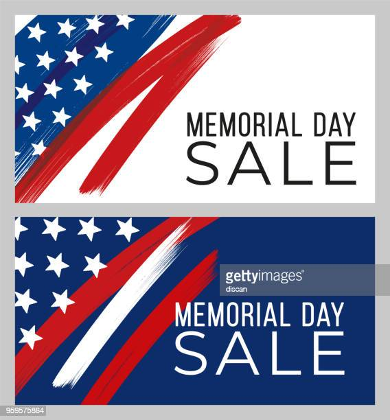 memorial day sale banner - memorial event stock illustrations