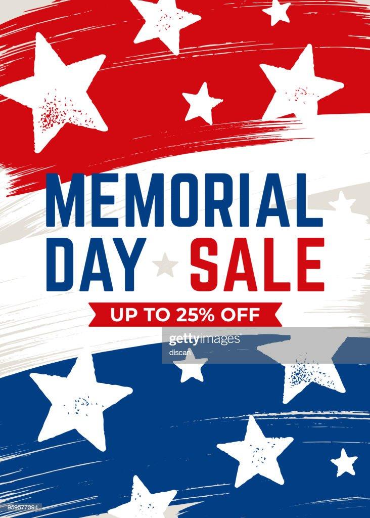 Memorial Day sale banner : Stock Illustration
