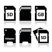 SD, memory card, adapter icons set