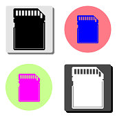 Memory card. flat vector icon