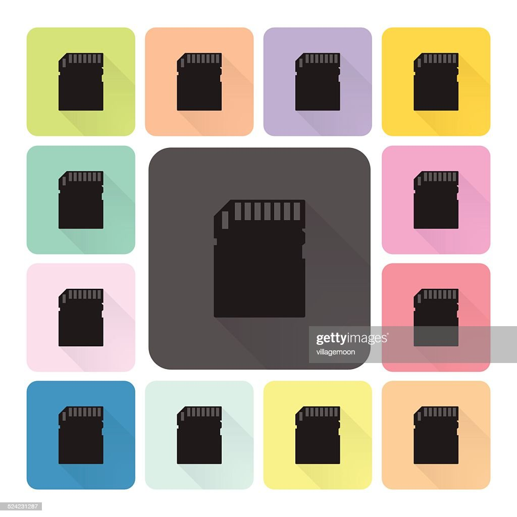 Memory card Icon color set vector illustration