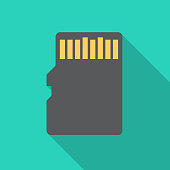 SD memory card icon with long shadow. Flat design style. Memory card simple silhouette.