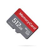 Memory Card Micro SD. 512 GB. Vector stock illustration. Realistic mockup micro sd card.