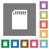 SD memory card square flat icons