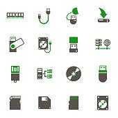 memory drives icon set