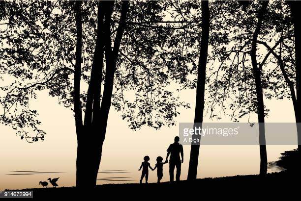memory of morning with dad - lakeshore stock illustrations