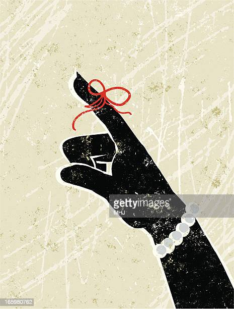 memory pointing business woman's hand with string - tied up stock illustrations
