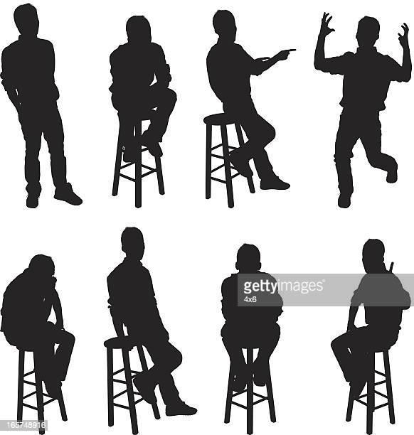 men and bar stools - stool stock illustrations, clip art, cartoons, & icons