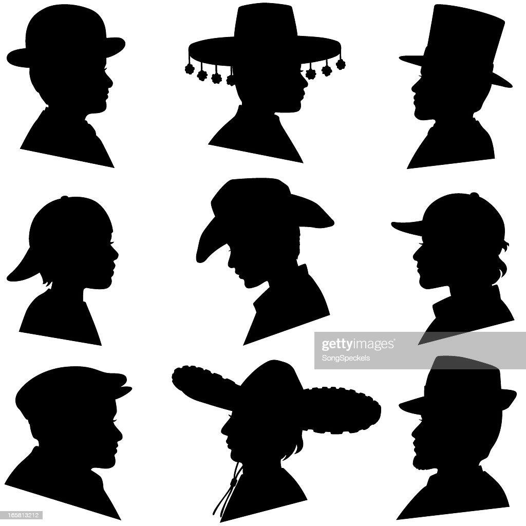 Men and Boys Wearing Hats : stock illustration