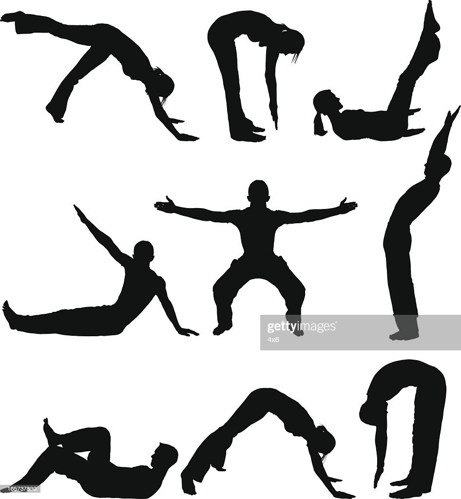 Men and woman doing yoga stretches : stock illustration