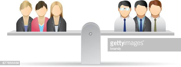 men and women are equal - equality stock illustrations