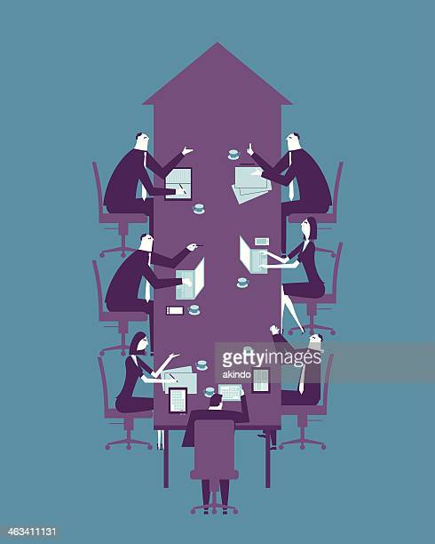 Men and women at arrow table illustration