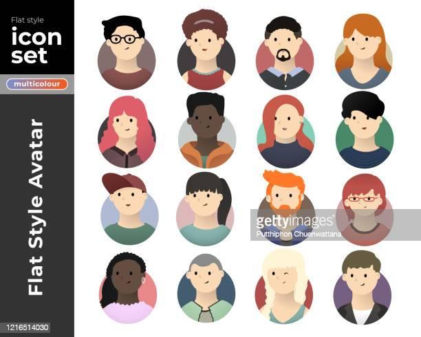 men and women avatar flat icon set on white background. vector stock illustration. stock illustration - headshot stock illustrations