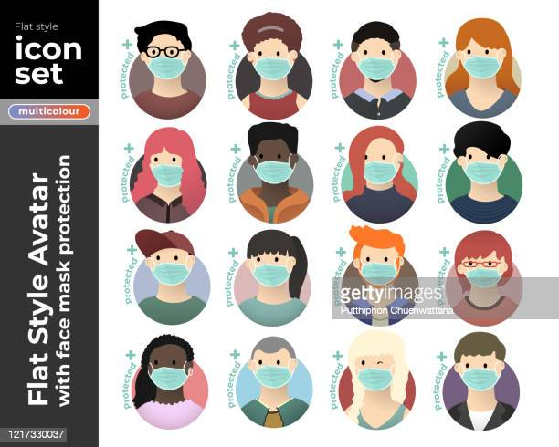 männer und frauen avatar tragen gesichtsmaske flache ikone set auf weißem hintergrund. vektor-stock-illustration. lager-illustration stock-illustration - mundschutz stock-grafiken, -clipart, -cartoons und -symbole