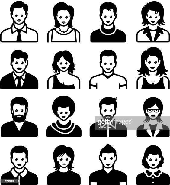 Men and Women black & white vector icon set